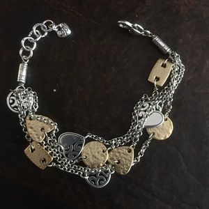 BRIGHTON DECO GOLD Heart Silver Gold 2 Tone Multi